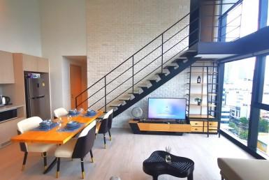Loft Style Duplex 2 Bedroom Condo Rent Silom Bangrak